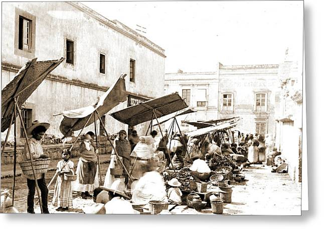 Mexico Street Market, Jackson, William Henry, 1843-1942 Greeting Card