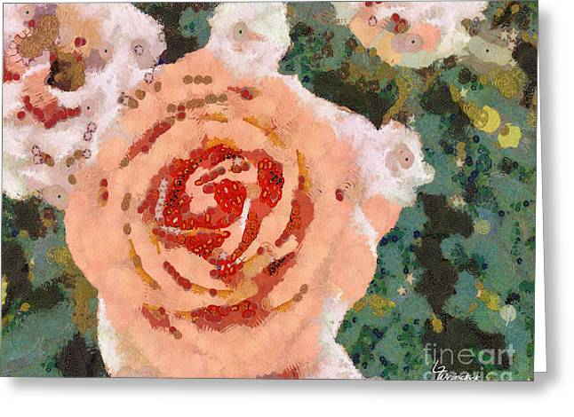 Greeting Card featuring the painting Alameda Meyers House Garden Klimt Rose by Linda Weinstock