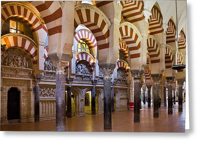 Mezquita Prayer Hall In Cordoba Greeting Card by Artur Bogacki