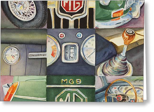 Greeting Card featuring the painting Mg Car Collage by Karen Fleschler