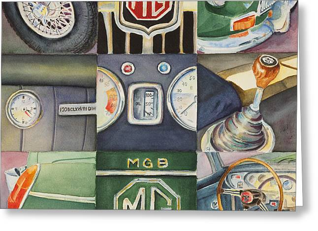 Mgb Car Collage Greeting Card
