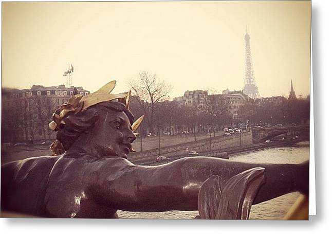 #mgmarts #france #paris #statue #bridge Greeting Card