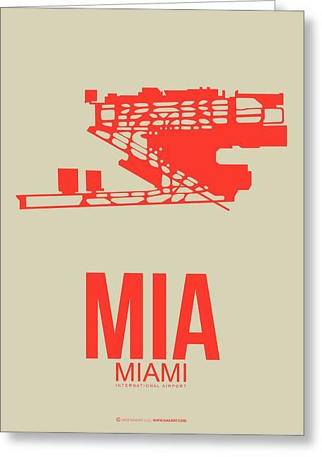 Mia Miami Airport Poster 3 Greeting Card by Naxart Studio