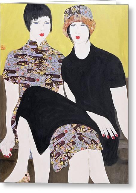 Mia Sorella IIi, 2004 Acrylic With Collage On Paper Greeting Card by Susan Adams