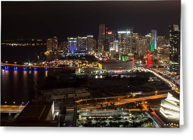 Miami After Dark II Skyline  Greeting Card by Rene Triay Photography
