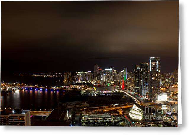 Miami After Dark Greeting Card by Rene Triay Photography