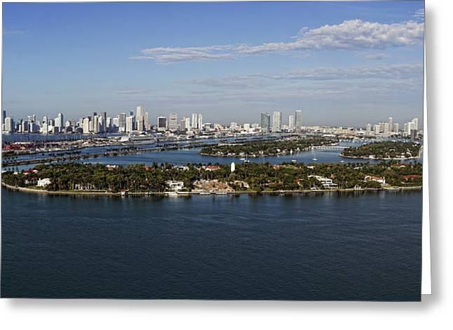 Miami And Star Island Skyline Greeting Card