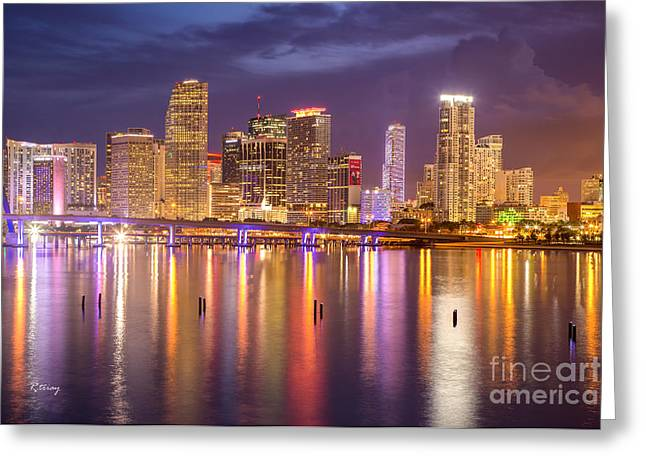 Miami Coming Alive At Dusk Greeting Card