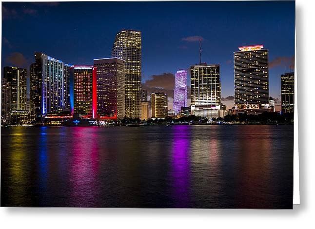 Miami At Night  Greeting Card by Frank Molina