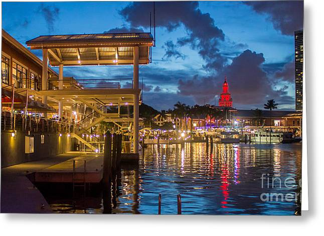 Miami Bayside Freedom Tower Greeting Card by Rene Triay Photography