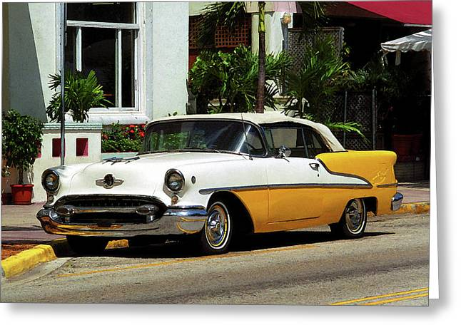 Beach Photography Mixed Media Greeting Cards - Miami Beach Classic Car with Watercolor Effect Greeting Card by Frank Romeo