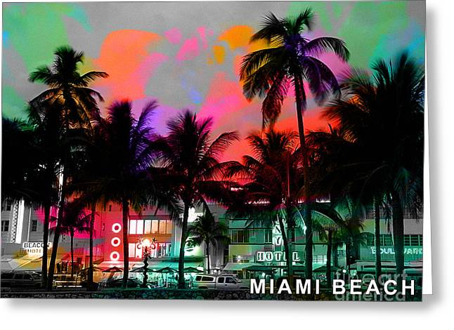 Miami Beach Greeting Card by Marvin Blaine
