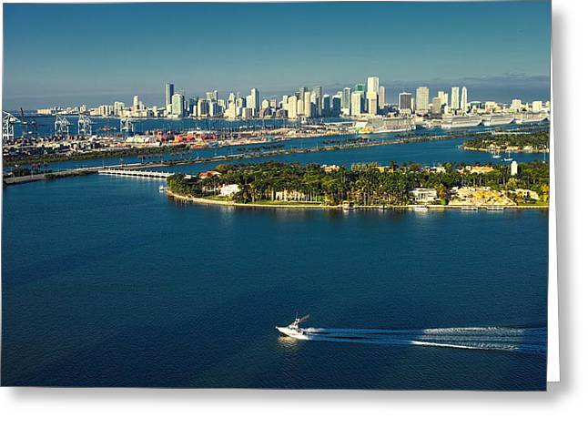 Miami City Biscayne Bay Skyline Greeting Card