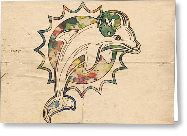 Miami Dolphins Poster Vintage Greeting Card