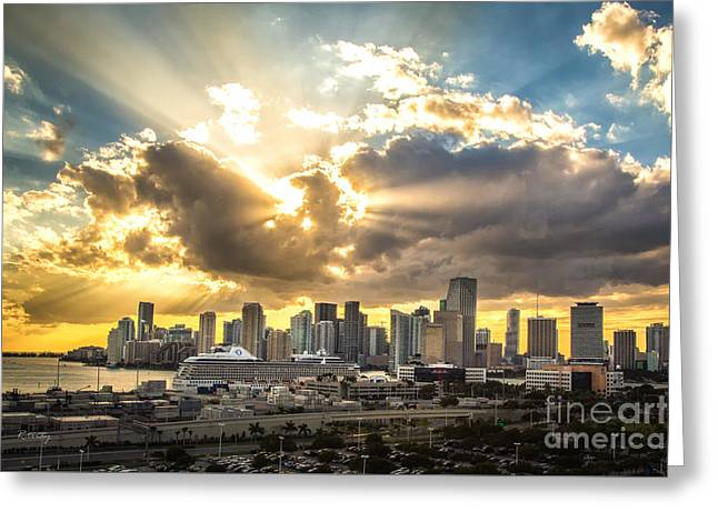 Miami Downtown Metropolis Greeting Card by Rene Triay Photography