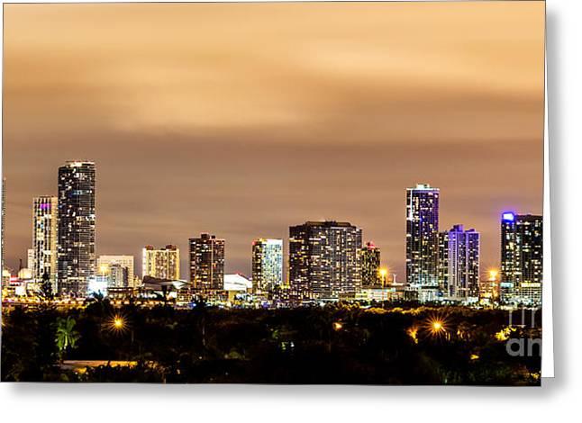 Miami Downtown Skyline Winter Sky Greeting Card