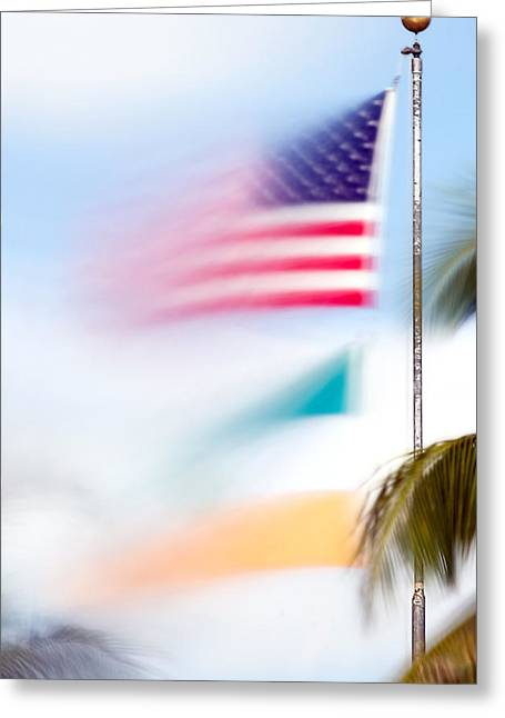 Miami Flag In The Breeze Greeting Card by Mr Bennett Kent