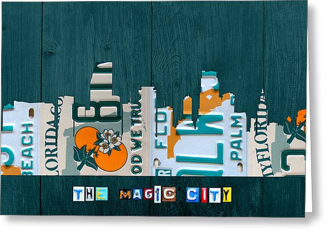 Miami Florida City Skyline Vintage License Plate Art On Wood Greeting Card by Design Turnpike