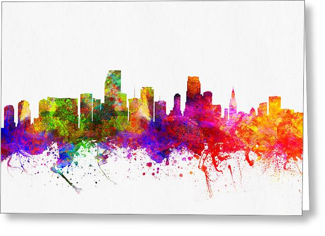 Miami Florida Skyline Greeting Card by Aged Pixel
