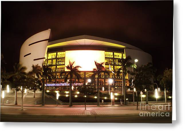 Miami Heat Aa Arena Greeting Card by Andres LaBrada