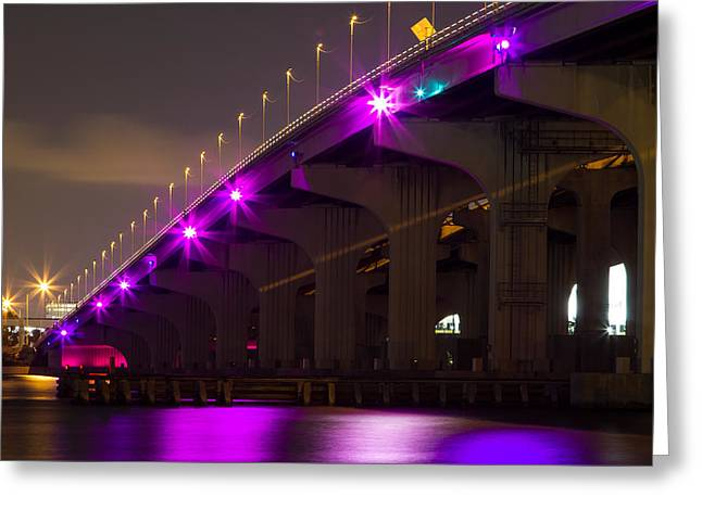 Miami Macarthur Causeway Bridge Greeting Card