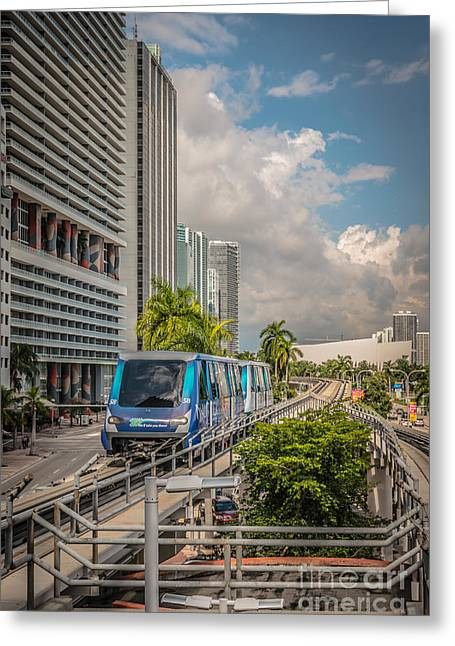 Miami Metro Mover Approaching Station - Hdr Style Greeting Card by Ian Monk