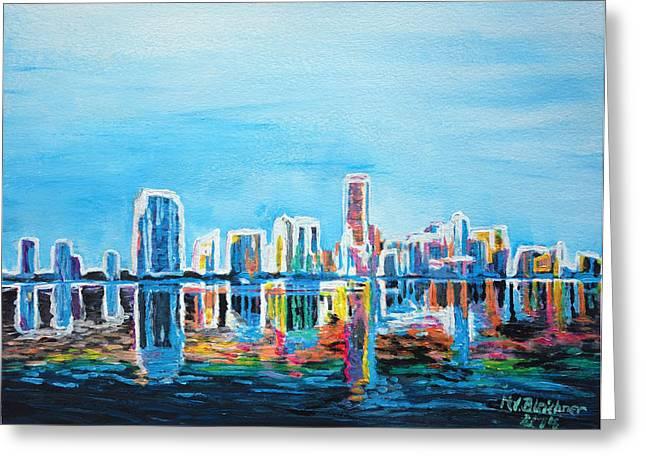 Miami Neon Skyline Waterline Greeting Card