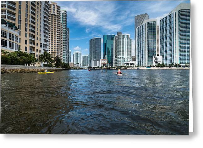 Miami River Kayakers Greeting Card by Jonathan Gewirtz