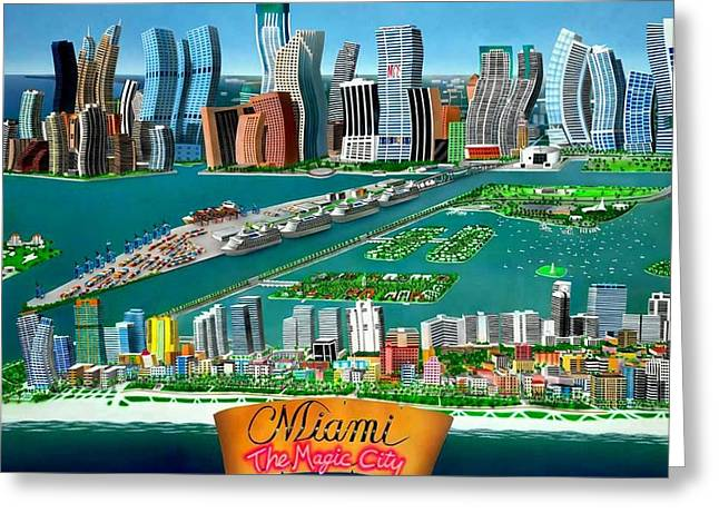 Miami Sizzle Greeting Card by Brett Sauce