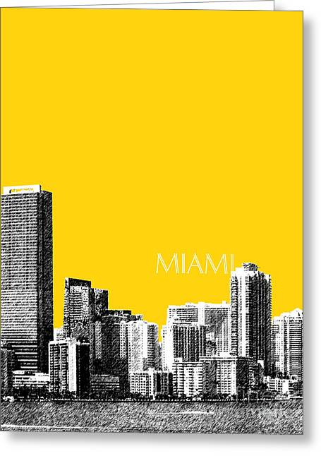 Miami Skyline - Mustard Greeting Card by DB Artist