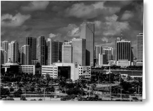 Miami Skyline 001 Greeting Card by Lance Vaughn