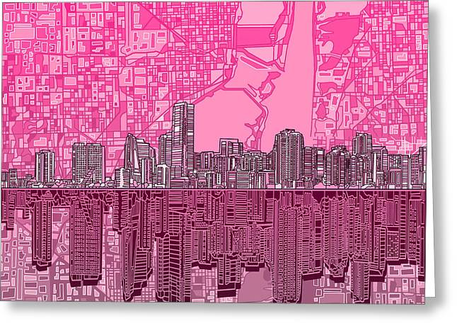 Miami Skyline Abstract 4 Greeting Card