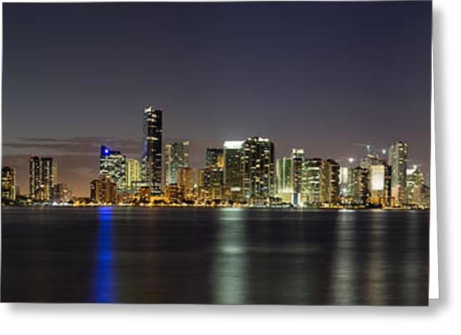 Miami Skyline Greeting Card by Andres Leon