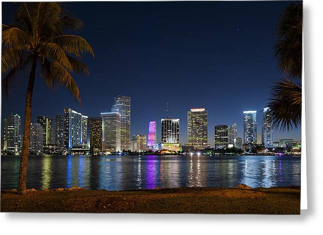 Miami Skyline Greeting Card by Domenik Studer