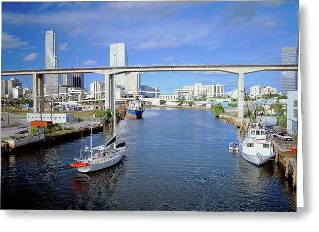 Miami Skyline From Bay, Florida Greeting Card