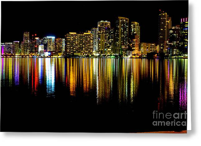 Miami Skyline II High Res Greeting Card by Rene Triay Photography