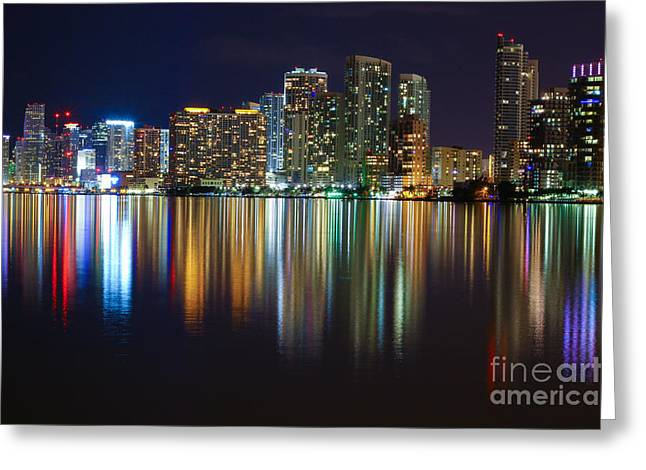 Miami Skyline IIi High Res Greeting Card by Rene Triay Photography
