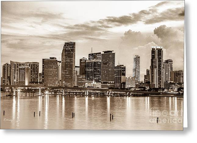 Miami Skyline In Sepia Tone Greeting Card by Rene Triay Photography