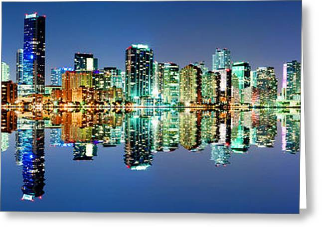 Greeting Card featuring the photograph Miami Skyline Panorama by Carsten Reisinger