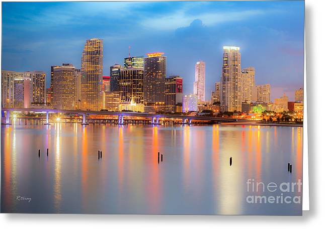 Miami Skyline On A Still Night- Soft Focus  Greeting Card by Rene Triay Photography