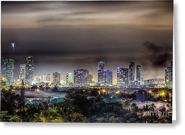Miami Skyline-the Mystical City Hdr Greeting Card