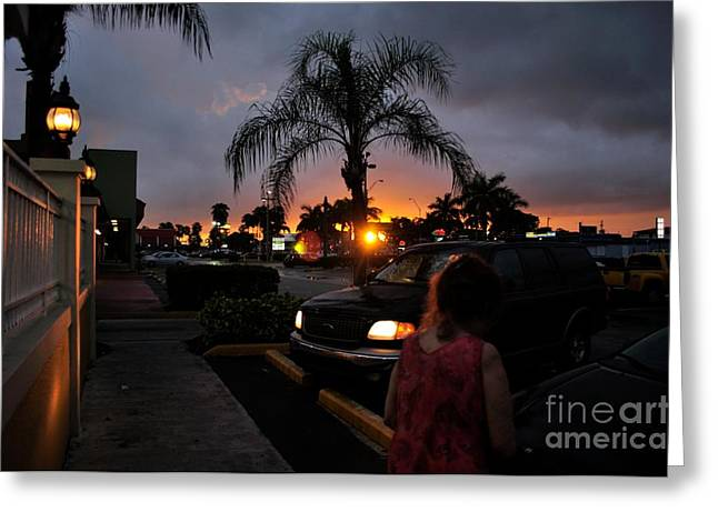 Miami Strip Mall Sunset Greeting Card by Andres LaBrada