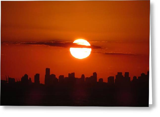 Greeting Card featuring the photograph Miami Sunset by Jennifer Wheatley Wolf