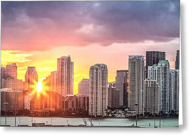 Miami Sunset Panoramic Greeting Card