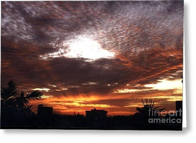 Miami Sunset Greeting Card by Steven Valkenberg