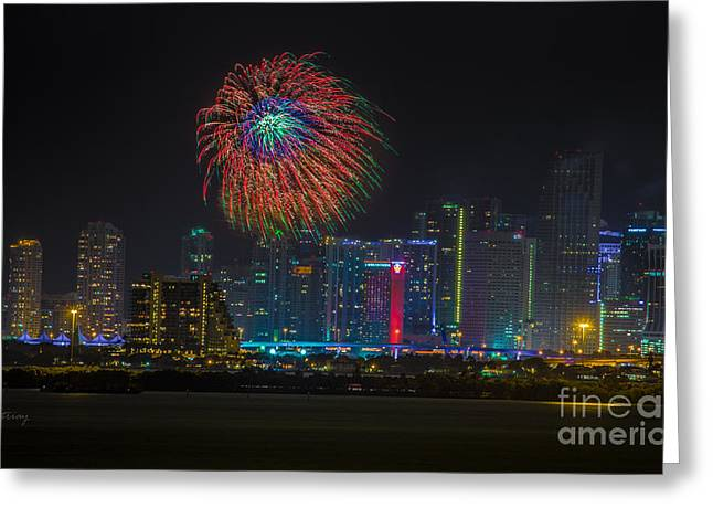 Miami The Colors Of New Years Celebration Greeting Card by Rene Triay Photography