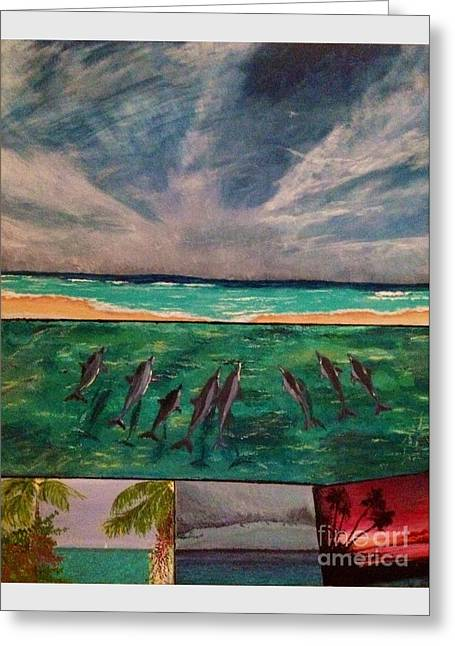 Greeting Card featuring the painting Delfin by Vanessa Palomino
