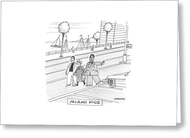 Miami Vice Greeting Card by Mick Stevens