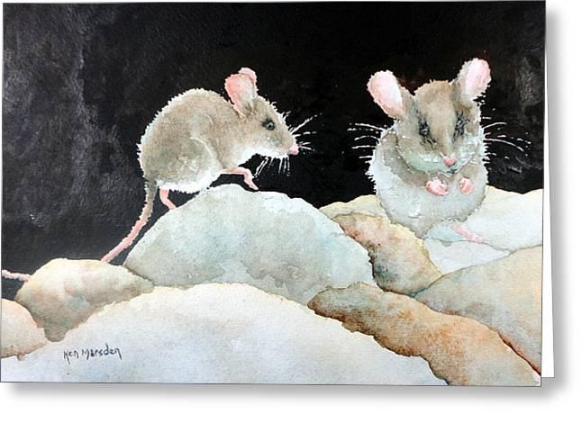 Mice On The Rocks Greeting Card