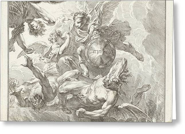 Michael And The Fall Of The Rebel Angels Greeting Card by Jacob De Wit